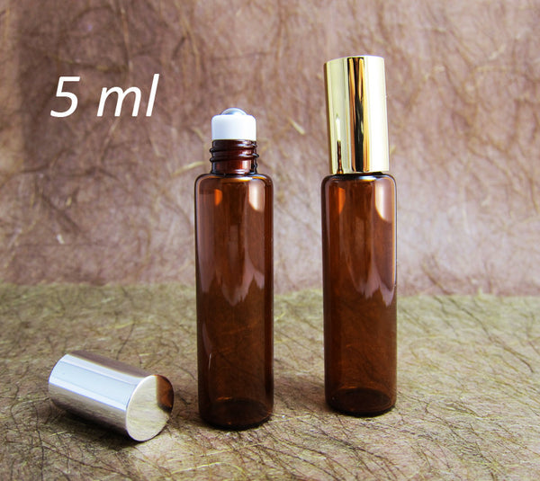 Roll-on Metal Ball Perfume Amber Glass Bottle /w Gold or Silver caps, 5ml, 100pcs