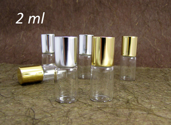 Roll-on Metal Ball Perfume Glass Bottle /w Gold or Silver caps, 2ml, 20pcs