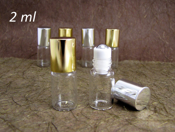 Roll-on Metal Ball Perfume Glass Bottle /w Gold or Silver caps, 2ml, 50pcs