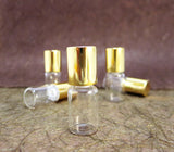 Roll-on Metal Ball Perfume Glass Bottle /w Gold or Silver caps, 2ml, 6pcs