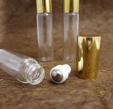 Roll-on Metal Ball Perfume Clear Glass Bottle /w Gold or Silver caps, 5ml, 6pcs