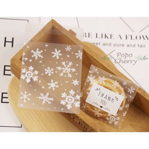 Frosted White Snowflake Cello Treat Bags for Wedding Favors Candy Cookies -Self adhesive & Resealable, 100pcs