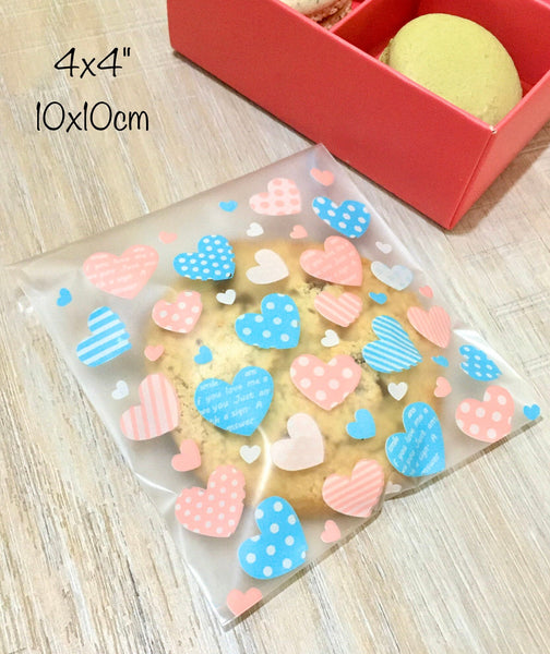 Matte Cello Food Bags -Heart Pattern, Self adhesive Resealable- Candy Cookies Wedding Favors, 50pcs, 4x4 inch