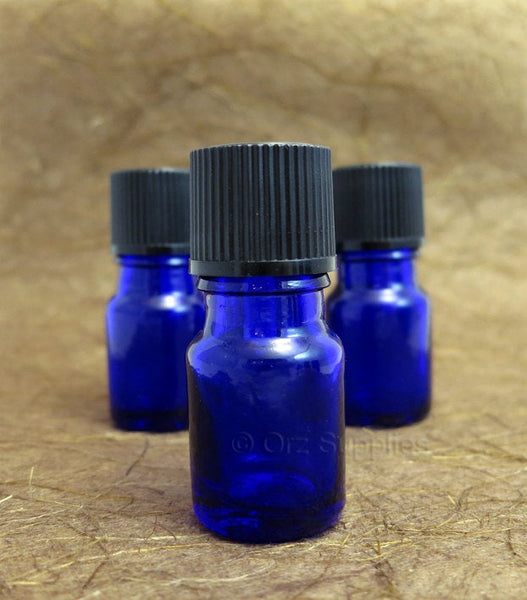 5 empty glass Blue Essential oil Euro dropper bottle 5ml / 0.17 oz