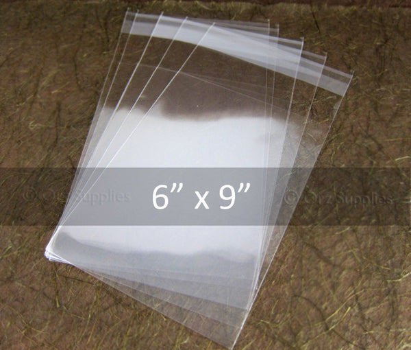 Clear Cello Food Bags for Candies Cookies Wedding Favors Jewelry, Self adhesive & Resealable, 100pcs, 6x9 inch