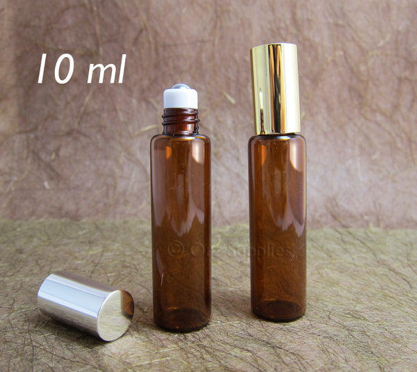 6 Amber glass roll on perfume bottle with metal ball 10ml