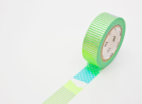 "Washi Tape SAMPLE 40"" Green Silver dot stripes collage (1m/1 yard) Buy 3 Get 1 FREE!"
