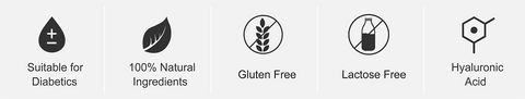 Gluten Free, Lactose Free Suitable for diabetics and vegans, 100% active ingredients