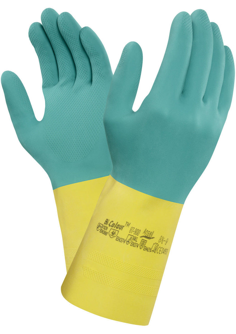 Ansell 87-900 Bi-Colour Latex/Neoprene Chemical Resistant Safety Gloves, Size 8.5 to 9