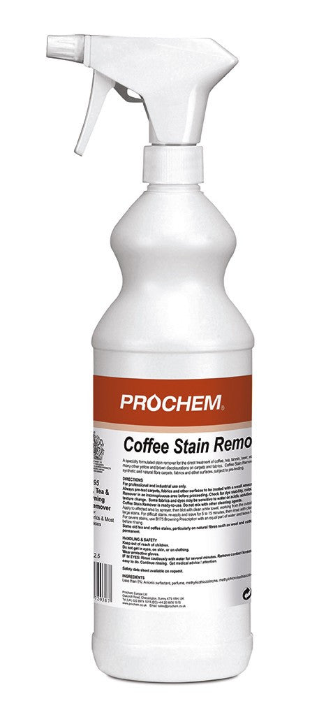 Prochem B195-01 Coffee Stain Remover W/ Spray 1 Litre x 10 MULTIBUY