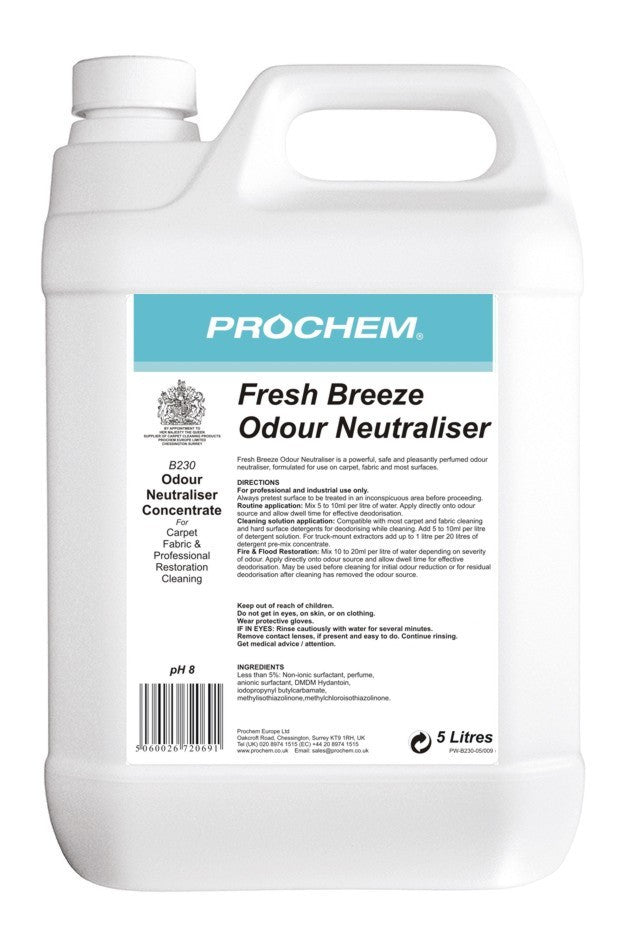 Prochem B230-05 Fresh Breeze Odour Neutraliser 5 Litre x 4 MULTIBUY