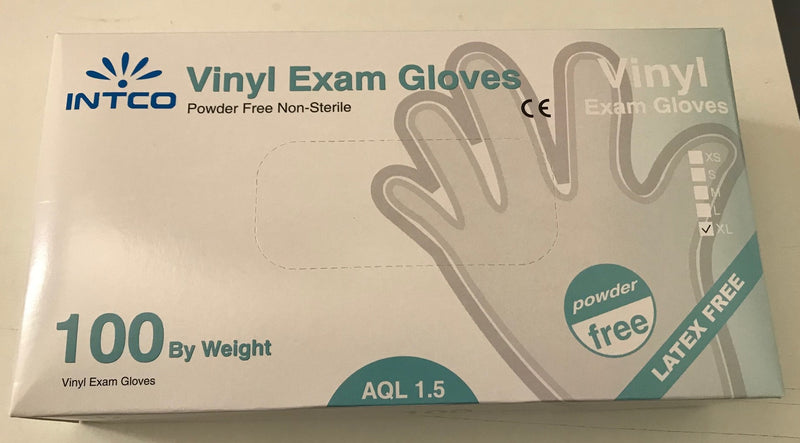 INTCO Vinyl Disposable Examination Gloves Powder Free Latex Free 100 Gloves Size XL Extra Large