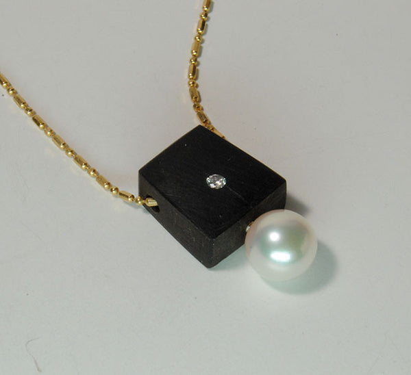 Ebony Pearl Diamond Pendant
