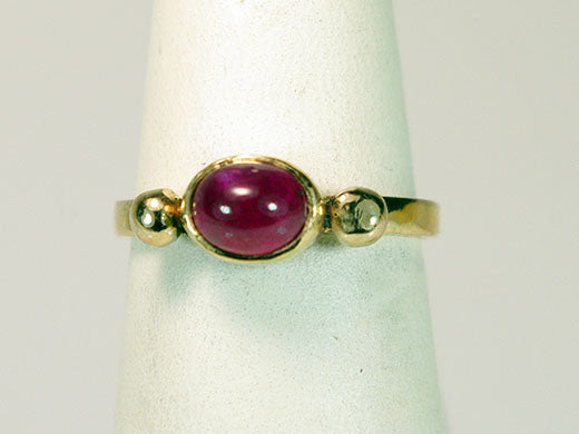 14K Yellow and Rose Gold Ring with Ruby Cabochon