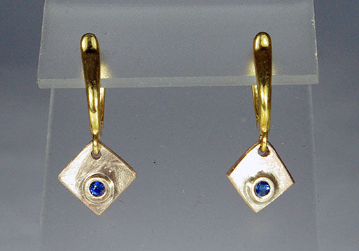 Alloy Earrings with Sapphires in Squares