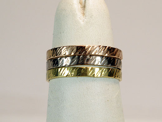 18K Textured Three Color Stack Set Wide