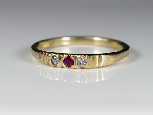 Ruby and Diamonds Stack Ring