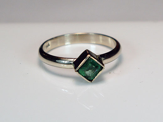 14K White Gold Ring with Square Emerald