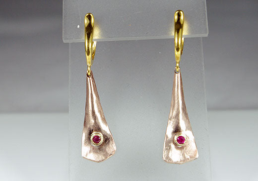 Alloy Earrings with Rubies