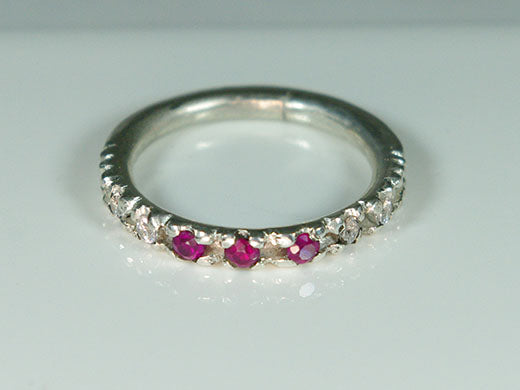 Stack Ring with Rubies and Diamonds