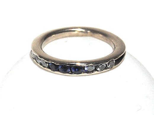 14K White Gold Stack Ring with Diamonds and Sapphires