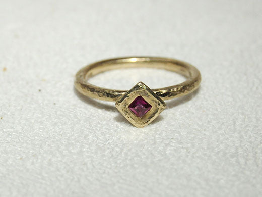 14K Gold Ring with Princess Ruby