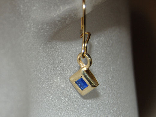 14K Drop Earrings with Sapphires