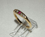 14K Gold Ring with Ruby and Four Diamonds