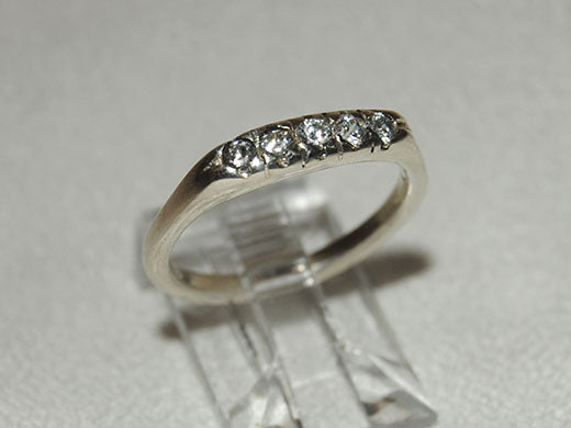 14K Gold Ring with Five Diamonds