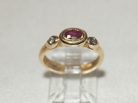 14K Gold Ring with Oval Ruby and Diamonds
