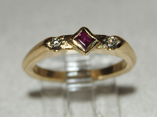 14K Gold Ring with Princess Ruby and Diamonds