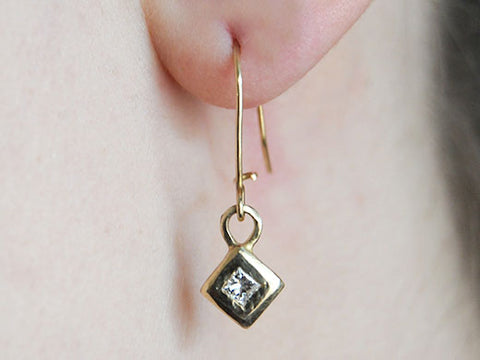 14K Geometric Earring with Princess Diamonds