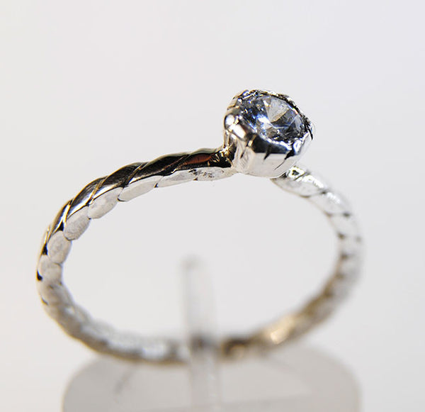 Engagement Ring Hexagonal Bezel Mount Diamond - riccoartjewelry.com  - 1