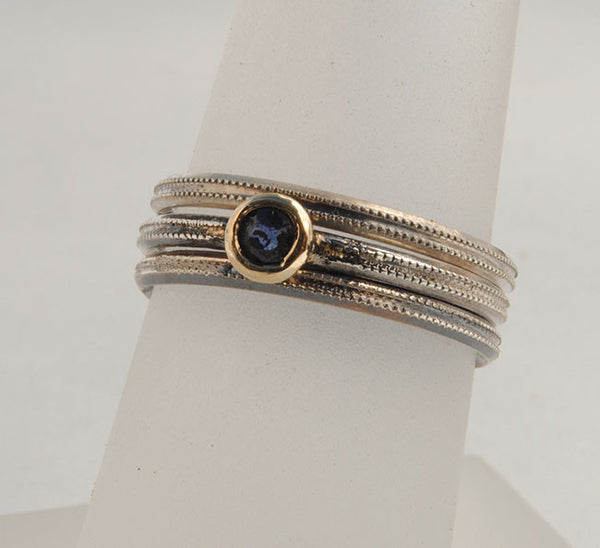 Skinny Stack Set with Sapphire - riccoartjewelry.com  - 2