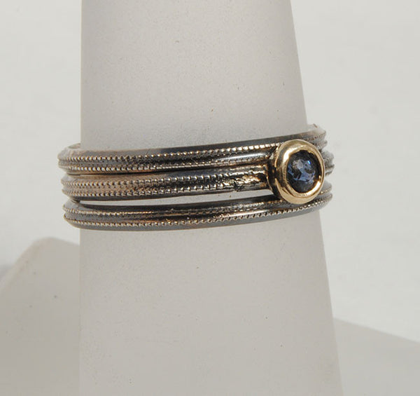 Skinny Stack Set with Sapphire - riccoartjewelry.com  - 4