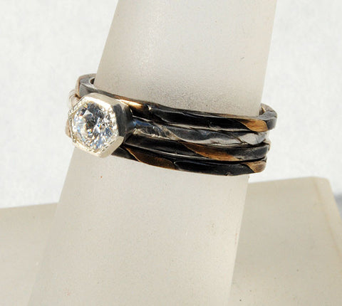 Diamond Ring with Gold and Silver Twist Side Rings - riccoartjewelry.com