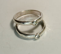 Custom Zen Wedding Ring Set with Diamonds