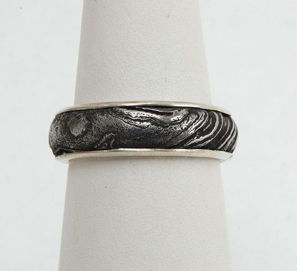 Bespoke Damascus Steel Ring with Gold Liner - riccoartjewelry.com  - 1