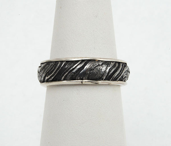 Bespoke Damascus Steel Ring with Gold Liner - riccoartjewelry.com  - 2