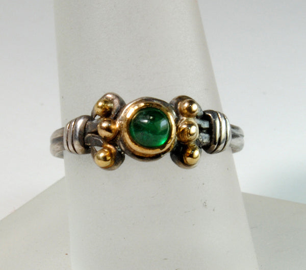 18K Gold on Silver Ring with Emerald Cabochon - riccoartjewelry.com  - 1