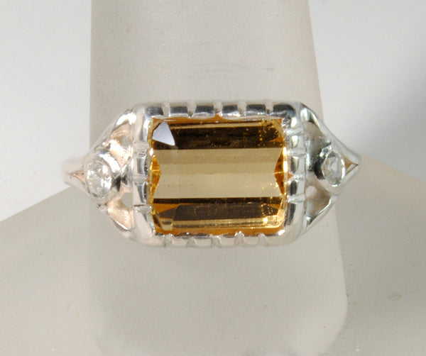 18K Gold Ring with Four Carat Canary Diamond Custom Order - riccoartjewelry.com  - 1
