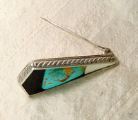 Turquoise  Ebony and Bone Brooch