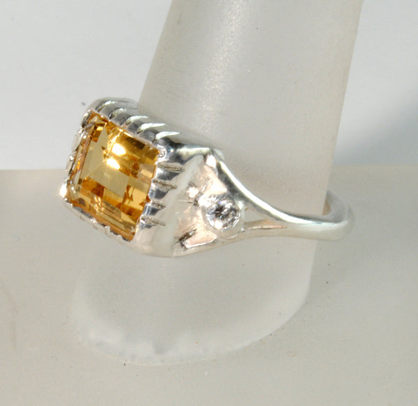 18K Gold Ring with Four Carat Canary Diamond Custom Order - riccoartjewelry.com  - 3