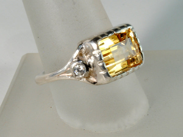 18K Gold Ring with Four Carat Canary Diamond Custom Order - riccoartjewelry.com  - 2