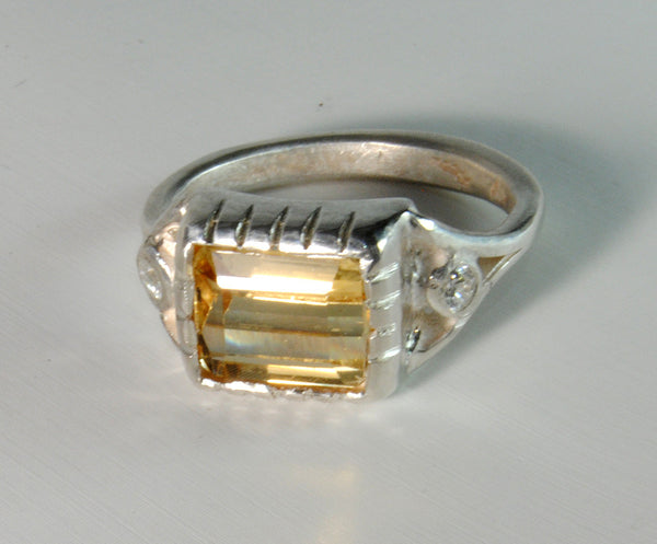 18K Gold Ring with Four Carat Canary Diamond Custom Order - riccoartjewelry.com  - 4