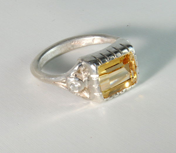 18K Gold Ring with Four Carat Canary Diamond Custom Order - riccoartjewelry.com  - 5