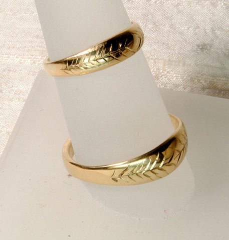 18K Gold Engraved Wedding Bands Custom Order