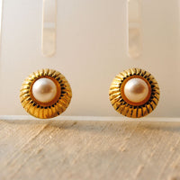 18K Gold Post Earrings with Pearls - riccoartjewelry.com