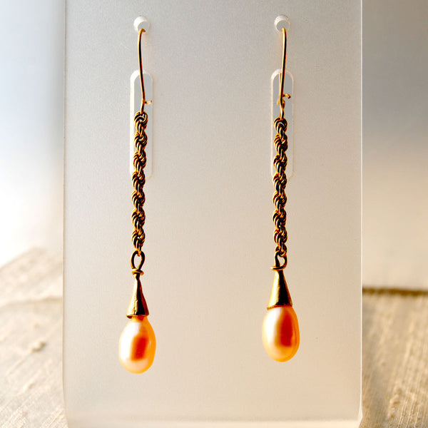 14K Gold Earrings with Drop Pearls on Rope Chain - riccoartjewelry.com