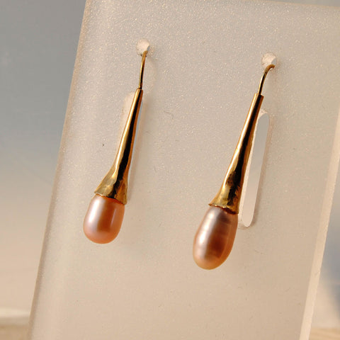 14K Gold Earrings with Drop Pearls - riccoartjewelry.com